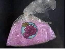 Strawberry Quick-style methamphetamine in a plastic bag with a label